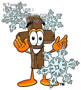 Wooden Cross Cartoon Character With Snowflakes