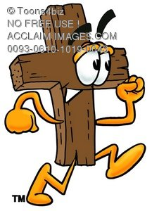 Wooden Cross Cartoon Character Running