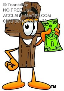 Wooden Cross Cartoon Character Holding Cash