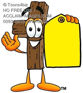 Wooden Cross Cartoon Character Holding a Yellow Price Tag
