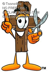 Wooden Cross Cartoon Character Holding Scissors