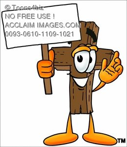 Wooden Cross Cartoon Character Holding a Blank Si