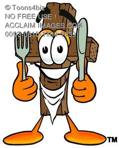 Wooden Cross Cartoon Character With Eating Utensils