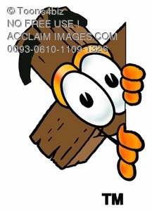 Wooden Cross Cartoon Character Spying