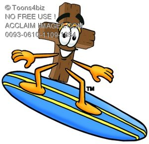 Wooden Cross Cartoon Character Surfing
