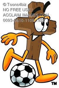 Wooden Cross Cartoon Character Playing Soccer