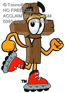 Wooden Cross Cartoon Character Roller Blading
