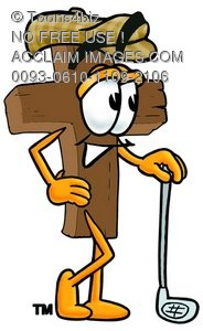 Wooden Cross Cartoon Character Golfing