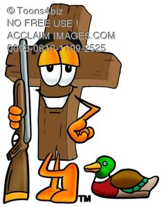 Wooden Cross Cartoon Character Duck Hunting