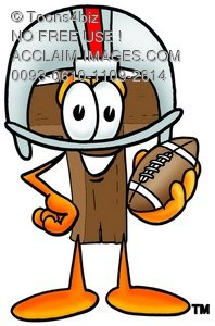 Wooden Cross Cartoon Character Playing Football