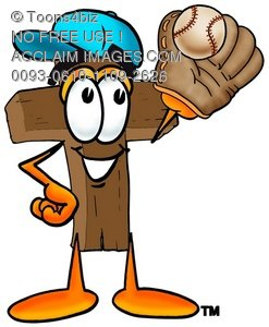 Wooden Cross Cartoon Character Playing Baseball