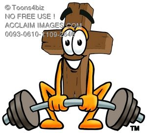Wooden Cross Cartoon Character Lifting Weights