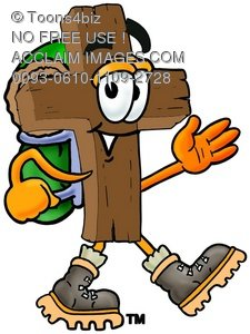 Wooden Cross Cartoon Character Hiking