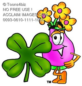 Flower Cartoon Character With a Four Leaf Clover