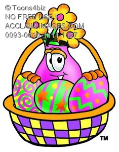 Flower Cartoon Character With Easter Eggs In a Basket