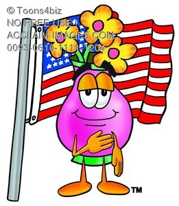 Flower Cartoon Character With an American Flag
