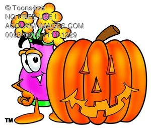 Flower Cartoon Character With a Halloween Pumpkin