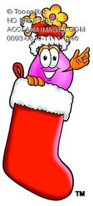 Flower Cartoon Character In a Christmas Stocking
