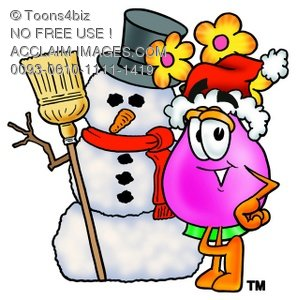 Flower Cartoon Character With a Snowman