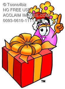 Flower Cartoon Character With a Christmas Gift