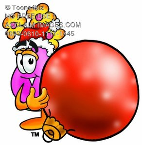 Flower Cartoon Character Holding a Christmas Ornament