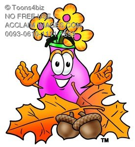 Flower Cartoon Character With Autumn Leaves and Acorns