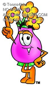 Flower Cartoon Character Pointing Upwards