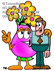 Flower Cartoon Character Talking To a Businessman