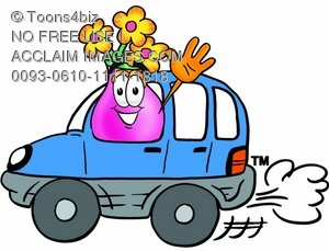 Flower Cartoon Character Driving a Car