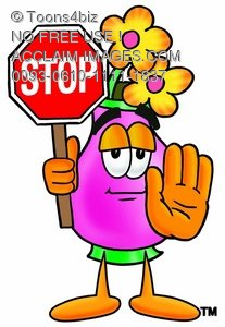 Flower Cartoon Character Holding a Stop Sign