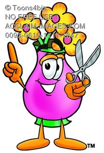 Flower Cartoon Character Holding Scissors