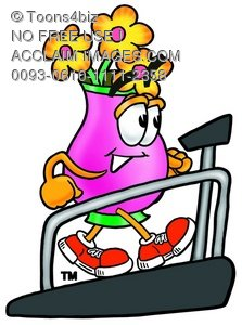 Flower Cartoon Character on a Treadmill