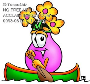 Flower Cartoon Character Rowing a Boat