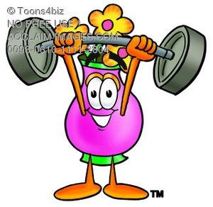 Flower Cartoon Character Lifting Weights