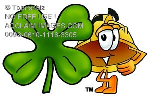 Hard Hat Cartoon Character With a Four Leaf Clover