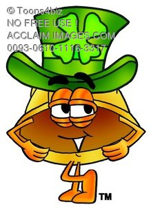 Hard Hat Cartoon Character Waring a St Patricks Day Hat