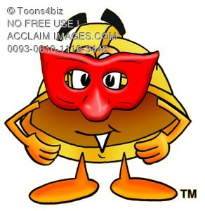 Hard Hat Cartoon Character Wearing a Mask