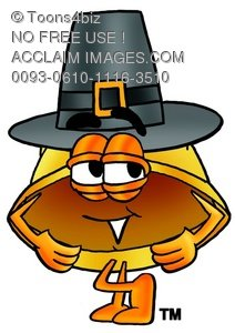 Hard Hat Cartoon Character Wearing a Pilgrim Hat