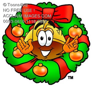 Hard Hat Cartoon Character With a Christmas Wreath