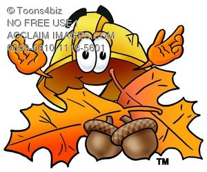Hard Hat Cartoon Character With Autumn Leaves and Acorns