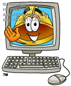 Hard Hat Cartoon Character In a Computer Screen
