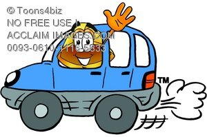 Hard Hat Cartoon Character Driving a Car