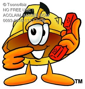 Hard Hat Cartoon Character Holding a Phone