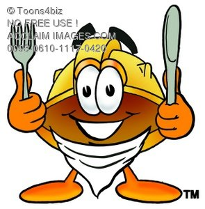 Hard Hat Cartoon Character With Eating Utensils