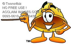 Hard Hat Cartoon Character Holding a Pointer Stick