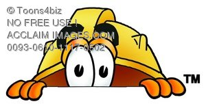 Hard Hat Cartoon Character Peeking
