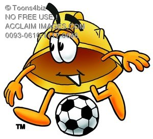 Hard Hat Cartoon Character Playing Soccer