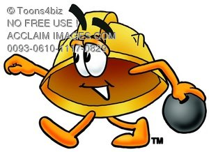 Hard Hat Cartoon Character Bowling