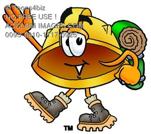 Hard Hat Cartoon Character Hiking
