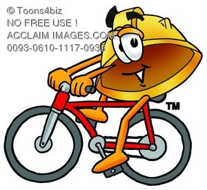Hard Hat Cartoon Character Riding a Bike